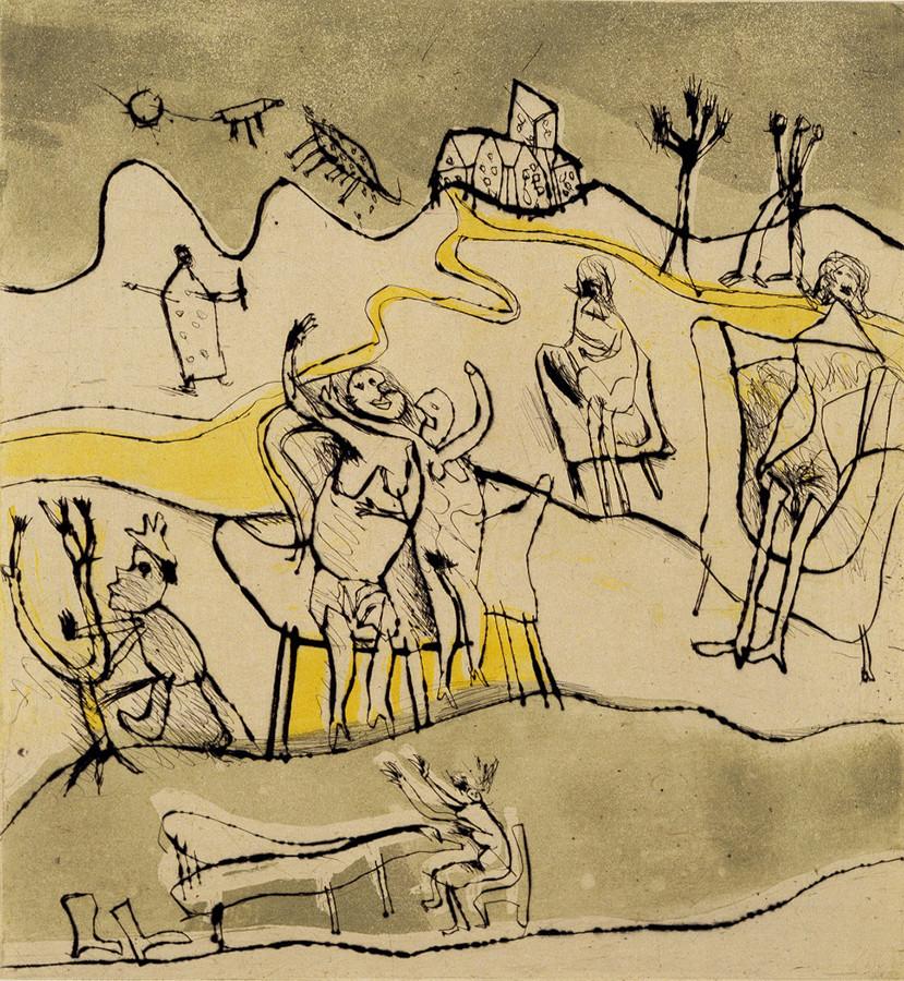 池田満寿夫《日光浴する貴婦人たち》1962年 目黒区美術館蔵