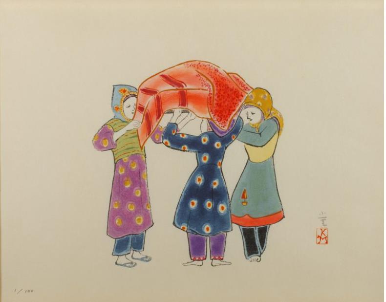 木版画「仲良し(イエメンにて)」 2006年
