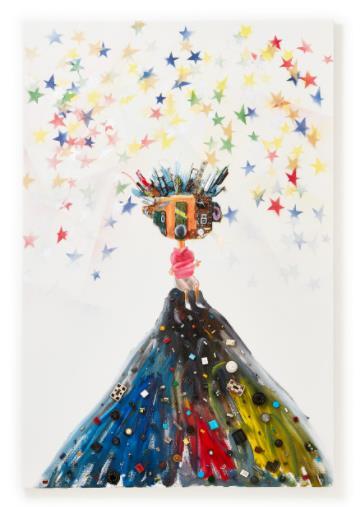 星に願う少年」 (Oil and E-waste on Canvas、102×153cm)