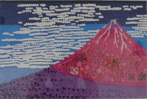渡辺おさむ Cream painting -赤富士- - 2018  Mixed media  H27.5 × W41 cm
