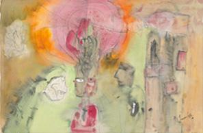 《青年の夢 1》 水彩,インク,紙 21.0×31.5cm 1973 photo: 石戸晋