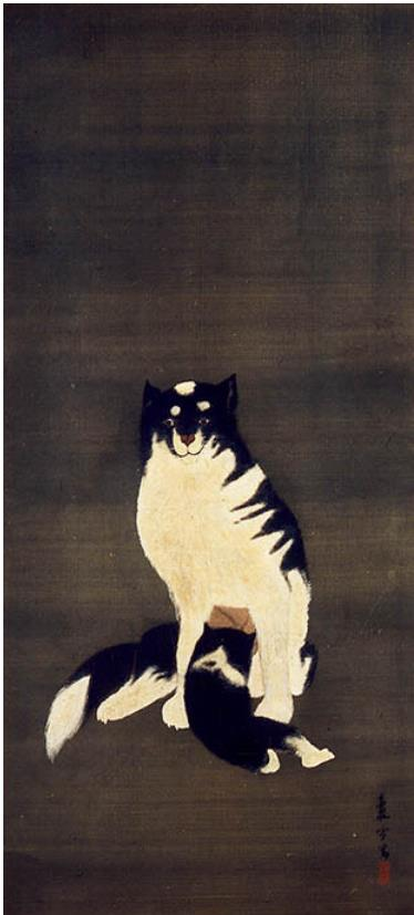 長沢蘆雪「洋風母子犬図」すみだ北斎美術館蔵(後期)