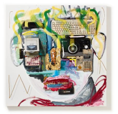 「plastics Jackson」 (Oil and E-waste on Canvas、100×100cm)