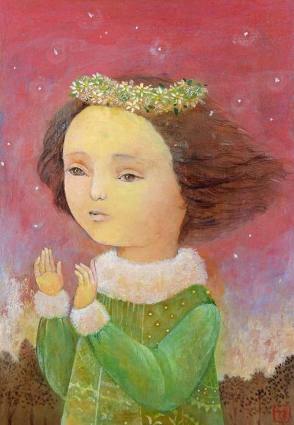 「朱鷺色の空に白くふわり」 SM テンペラ + 油彩