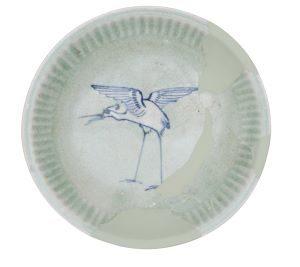 肥前系青磁鷺文(さぎもん)五寸皿