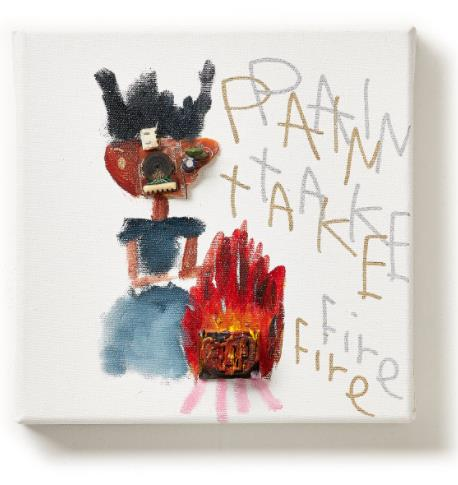 「PAIN TAKE Fire」 (Oil and E-waste on Canvas、20×20cm)