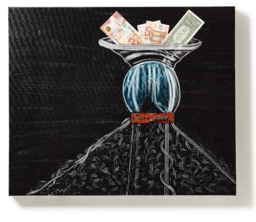 「Capital to money」 (Oil and E-waste on Canvas、73×61cm)