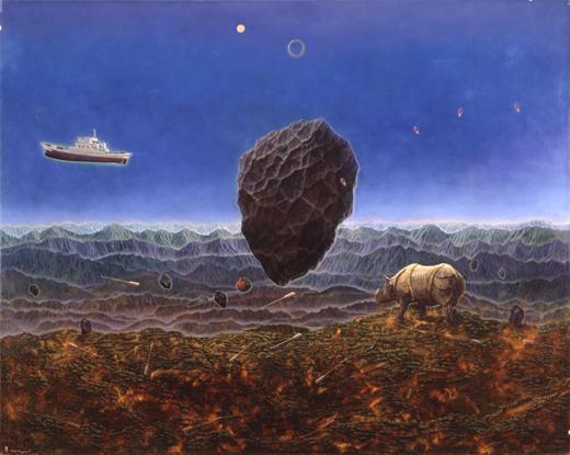 川口起美雄 《柔らかな隕石》 1993年 テンペラ、油彩、板 東京オペラシティ アートギャラリー蔵 撮影:斉藤新