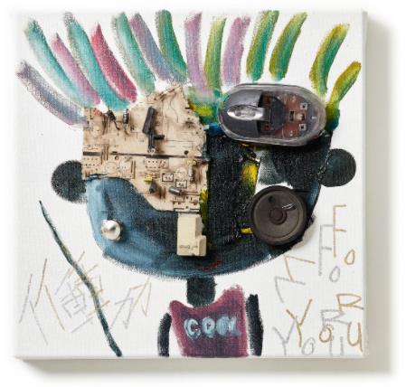 「働く For You」 (Oil and E-waste on Canvas、30×30cm)