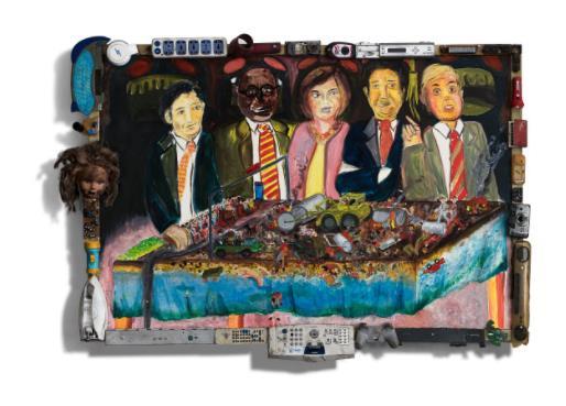 「世界平和のワクチン」 (Oil and E-waste on Woodpanel、152×110cm)