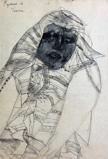 野見山 暁治 チュニジアの農民 - 1970  Painting  H58 × W39 cm