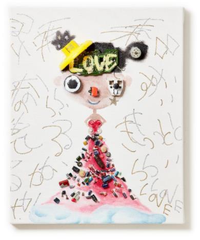 「きっとくるから fight Love」 (Oil and E-waste on Canvas、40×50cm)