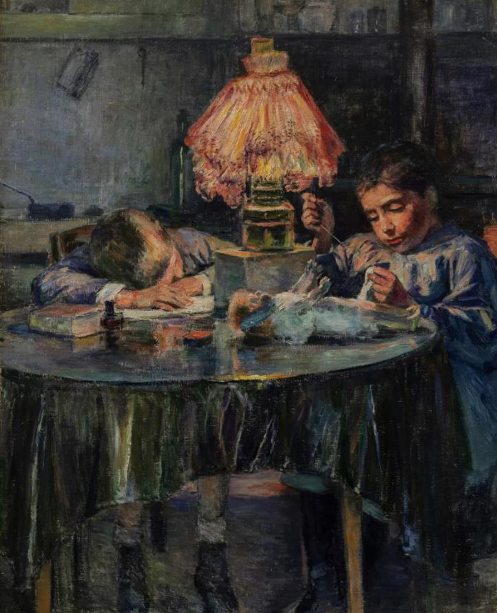 黒田清輝《洋燈と二児童》1891年 油彩・画布 ひろしま美術館蔵