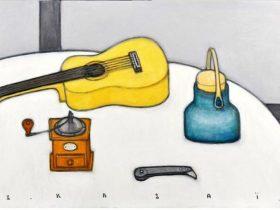 『ギターとカッターナイフのある卓上静物』/50M