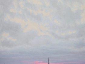 『グレーとピンクとエッフェル塔 PARIS Ohh Paris』/100 x 100 cm