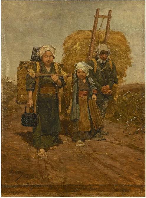 浅井忠《農夫帰路》(1887)