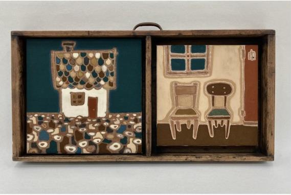 杉山佳 「小さい家のある風景とその室内」 32×61.2×55cm ミクストメディア