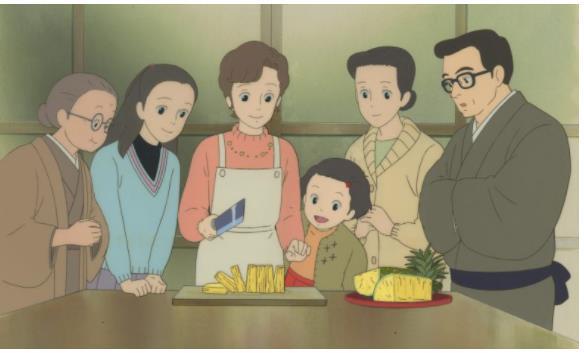 「おもひでぽろぽろ」セル付き背景画 © 1991 岡本蛍・刀根夕子・Studio Ghibli・NH
