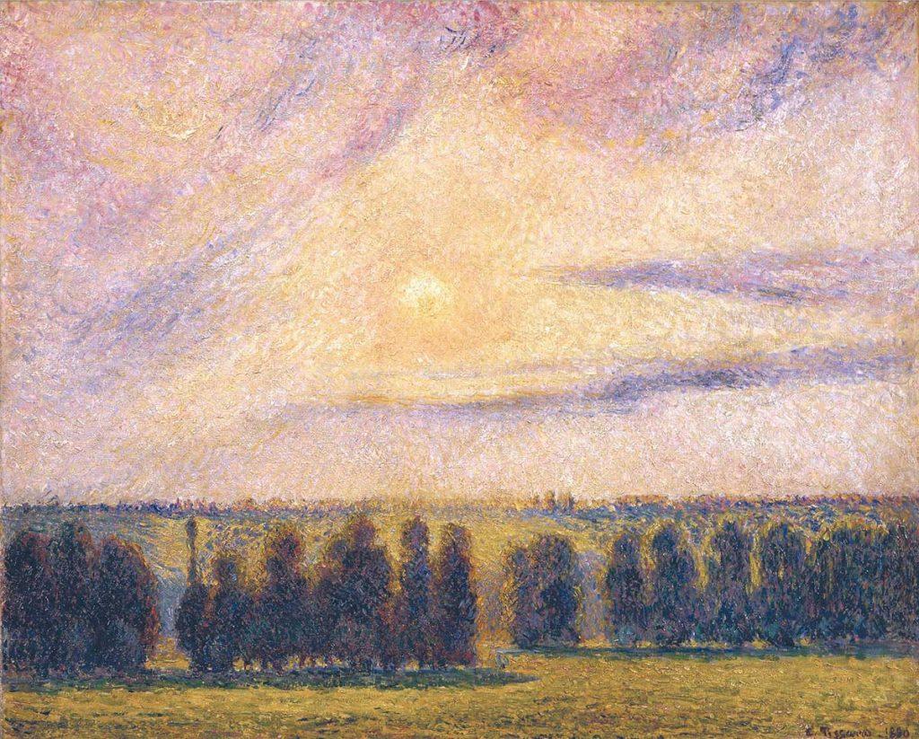 カミーユ・ピサロ《エラニーの日没》1890年、油彩/カンヴァス、65.2 x 81.3 cm、イスラエル博物館蔵 Photo © The Israel Museum, Jerusalem