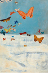 三岸好太郎《雲の上を飛ぶ蝶》 1934(昭和9)年 油彩、キャンバス 91.5×60.6cm 東京国立近代美術館蔵