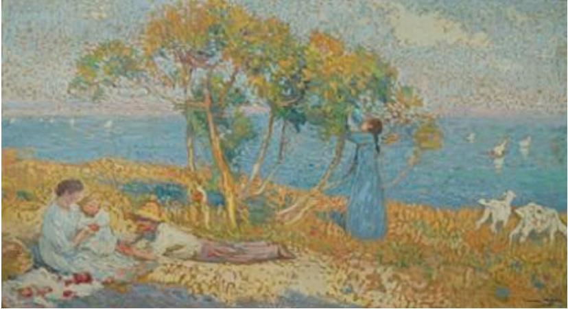 アンリ・マルタン 《ガブリエルと無花果の木〔エルベクール医師邸の食堂の装飾画のための習作〕》 1911年 フランス、個人蔵 ©Archives photographiques Maket Expert