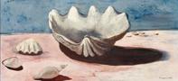 三岸好太郎《のんびり貝》1934(昭和9)年 油彩、キャンバス 50.9×107.4cm 北海道立三岸好太郎美術館蔵