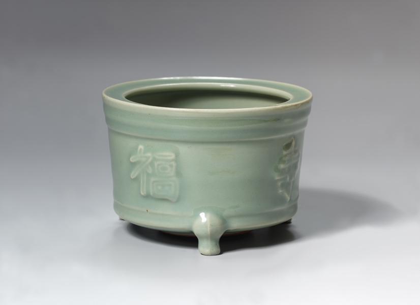青磁福寿香炉