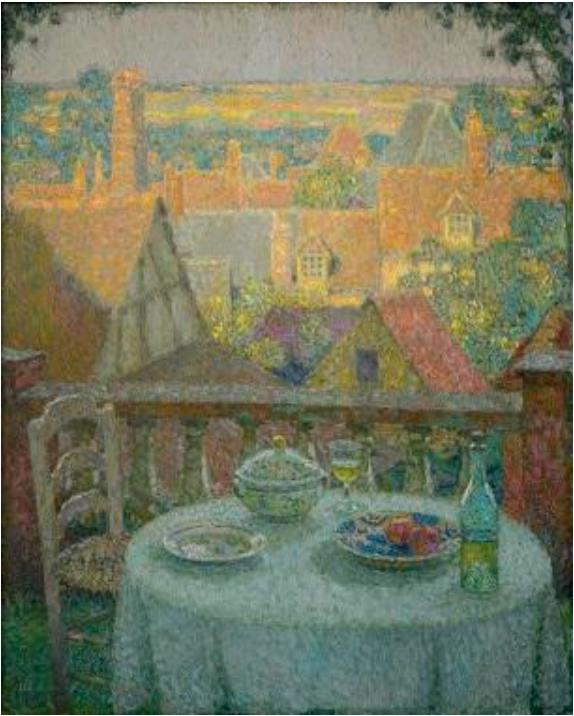 アンリ・ル・シダネル 《ジェルブロワ、テラスの食卓》 1930年 フランス、個人蔵 ©Luc Paris