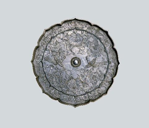 重要文化財 古神宝銅鏡類 牡丹唐草尾長鳥八稜鏡