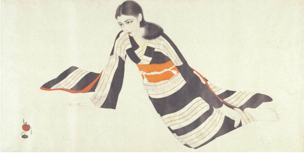 上田宇三郎「振袖の女性」昭和5-10年、福岡県立美術館蔵