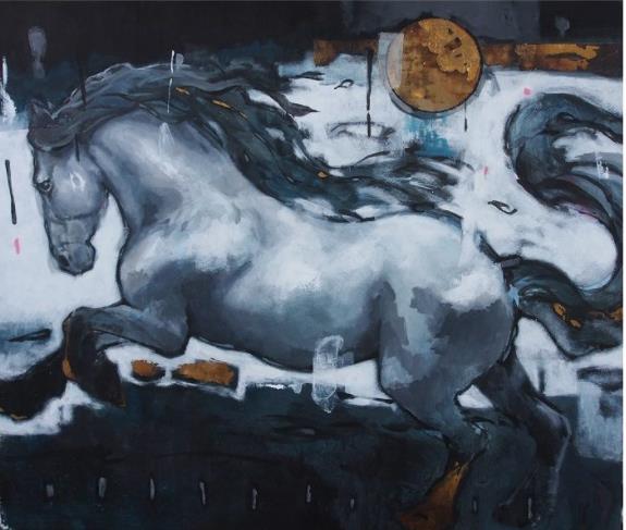 辻本健輝 「月夜の風」 10号 ミクストメディア
