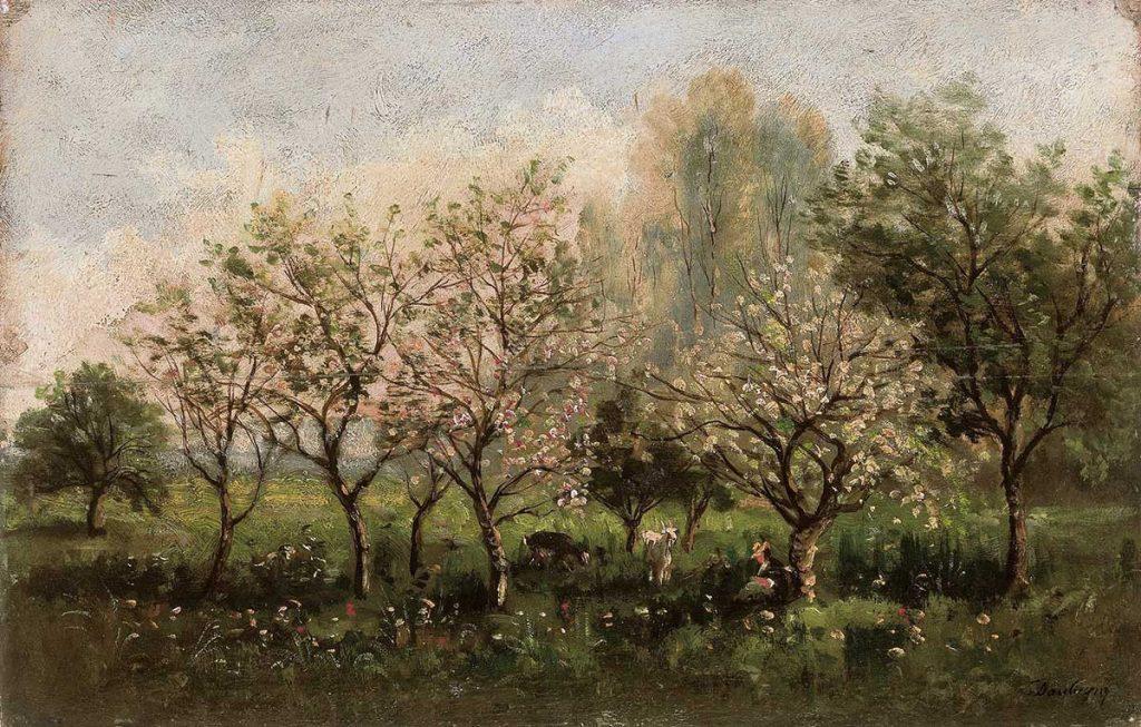 シャルル=フランソワ・ドービニー《花咲くリンゴの木》1860-62年、油彩/板、26.5 x 40.5 cm、イスラエル博物館蔵 Photo © The Israel Museum, Jerusalem by Avshalom Avital