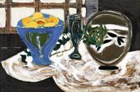 三岸節子《静物(金魚)》1950(昭和25)年 油彩、キャンバス 61.0×90.7cm 東京国立近代美術館蔵©MIGISHI