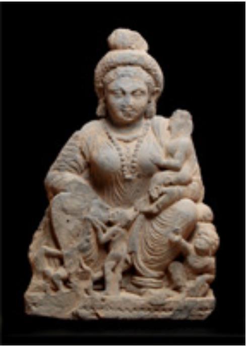 ハーリーティー倚坐像 スワート(パキスタン) 2~3世紀