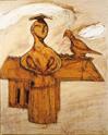 三岸節子《鳥と女と》1956(昭和31)年 油彩、キャンバス 100.0×81.0cm 高輪画廊蔵©MIGISHI