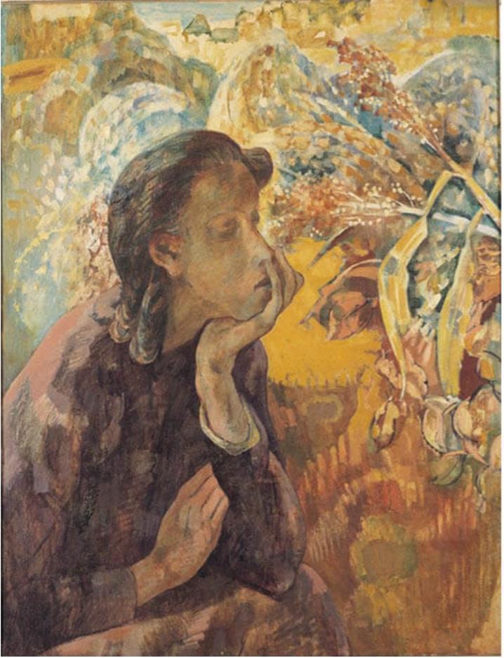 青柳暢夫「黍と女」昭和16年、福岡県立美術館蔵