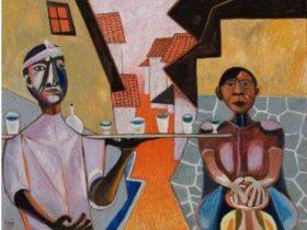北川民次 《かまどの前の陶工》1953年 油彩、キャンバス