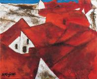 三岸節子《アルカディアの赤い屋根(ガヂスにて)》1988(昭和63)年 油彩、キャンバス 60.0×73.0cm 一宮市三岸節子記念美術館蔵 ©MIGISHI
